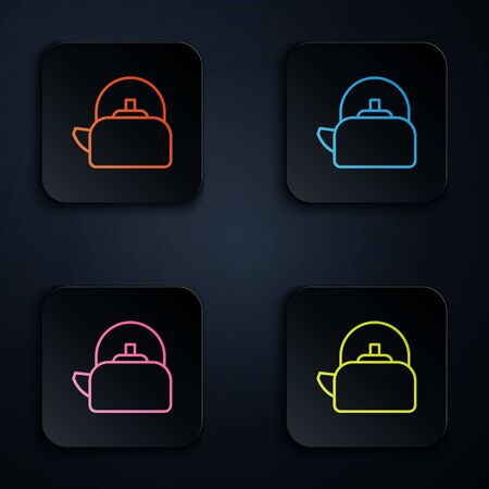 Color neon line Kettle with handle icon isolated on black background. Teapot icon. Set icons in square buttons. Vector Illustration.