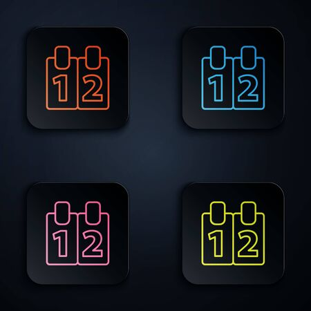 Color neon line Mathematics function cosine icon isolated on black background. Set icons in square buttons. Vector Illustration.