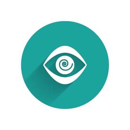 White Hypnosis icon isolated with long shadow. Human eye with spiral hypnotic iris. Green circle button. Vector Illustration. Vektorové ilustrace