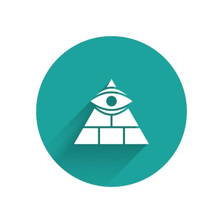 White Masons symbol All-seeing eye of God icon isolated with long shadow. The eye of Providence in the triangle. Green circle button. Vector Illustration. Vectores