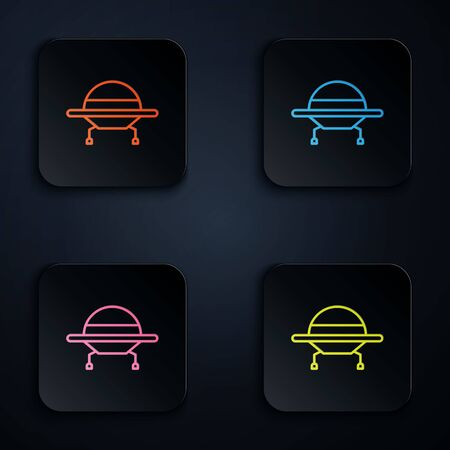 Color neon line UFO flying spaceship icon isolated on black background. Flying saucer. Alien space ship. Futuristic unknown flying object. Set icons in square buttons. Vector Illustration.