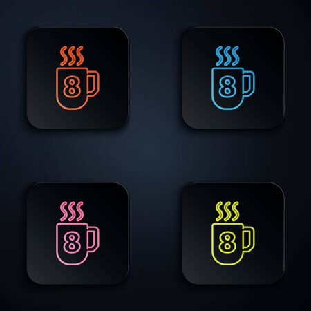 Color neon line Coffee cup with 8 March icon isolated on black background. Tea cup. Hot drink coffee. International Happy Women Day. Set icons in square buttons. Vector Illustration. 向量圖像