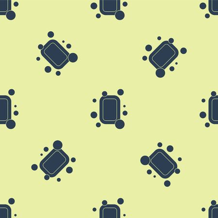 Blue Bar of soap icon isolated seamless pattern on yellow background. Soap bar with bubbles. Vector Illustration