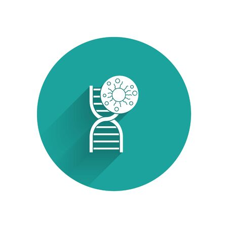 White DNA symbol and virus icon isolated with long shadow. Green circle button. Vector Illustration