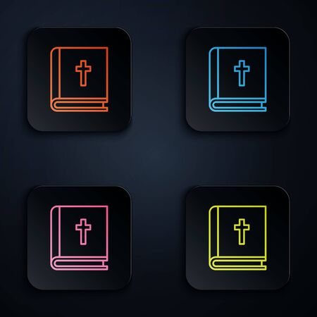 Color neon line Holy bible book icon isolated on black background. Set icons in square buttons. Vector Illustration.