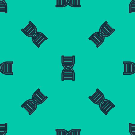 Blue line DNA symbol icon isolated seamless pattern on green background. Vector Illustration