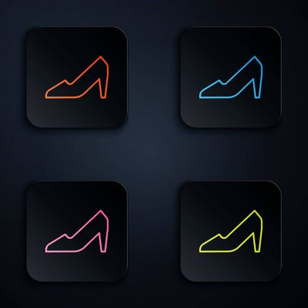 Color neon line Woman shoe with high heel icon isolated on black background. 8 March. International Happy Women Day. Set icons in square buttons. Vector Illustration