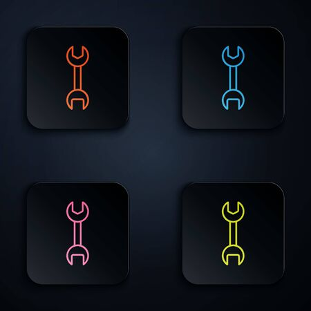 Color neon line Wrench spanner icon isolated on black background. Set icons in square buttons. Vector Illustration