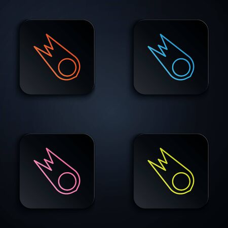Color neon line Comet falling down fast icon isolated on black background. Set icons in square buttons. Vector Illustration. Ilustracja