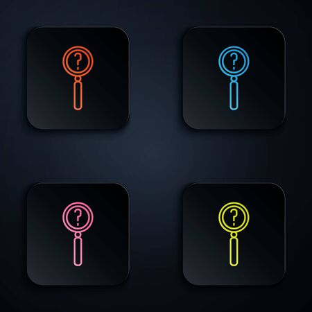 Color neon line Magnifying glass with search icon isolated on black background. Detective is investigating. Set icons in square buttons. Vector Illustration.