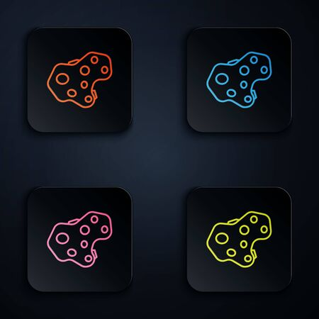 Color neon line Asteroid icon isolated on black background. Set icons in square buttons. Vector Illustration Ilustracja