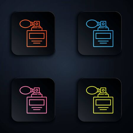 Color neon line Perfume icon isolated on black background. 8 March. International Happy Women Day. Set icons in square buttons. Vector Illustration