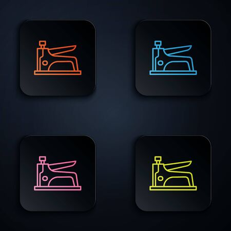 Color neon line Construction stapler icon isolated on black background. Working tool. Set icons in square buttons. Vector Illustration. Vectores