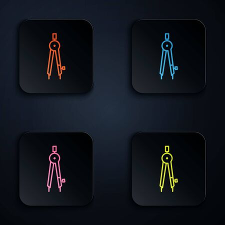 Color neon line Drawing compass icon isolated on black background. Compasses sign. Drawing and educational tools. Geometric instrument. Set icons in square buttons. Vector Illustration