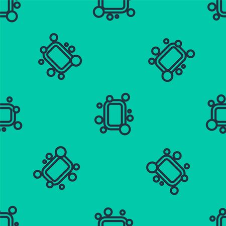 Blue line Bar of soap icon isolated seamless pattern on green background. Soap bar with bubbles. Vector Illustration.