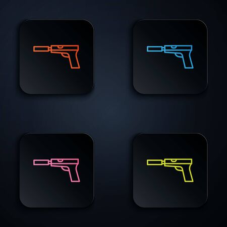 Color neon line Pistol or gun with silencer icon isolated on black background. Set icons in square buttons. Vector Illustration.