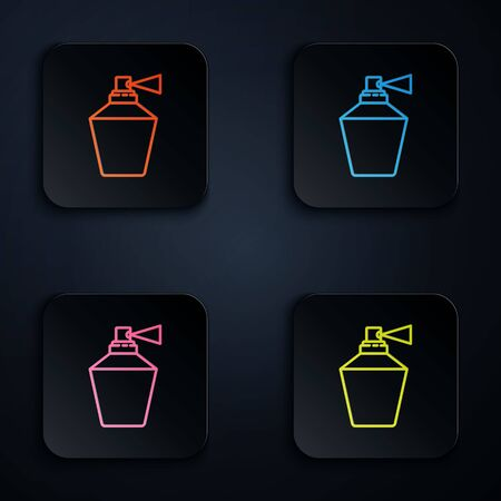 Color neon line Perfume icon isolated on black background. 8 March. International Happy Women Day. Set icons in square buttons. Vector Illustration.
