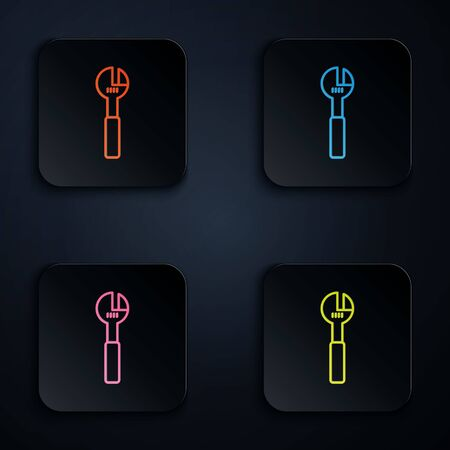 Color neon line Adjustable wrench icon isolated on black background. Set icons in square buttons. Vector Illustration.