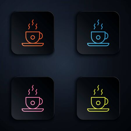 Color neon line Coffee cup icon isolated on black background. Tea cup. Hot drink coffee. Set icons in square buttons. Vector Illustration Illustration