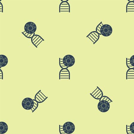 Blue DNA symbol and virus icon isolated seamless pattern on yellow background. Vector Illustration
