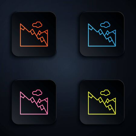 Color neon line Mountains icon isolated on black background. Symbol of victory or success concept. Set icons in square buttons. Vector Illustration