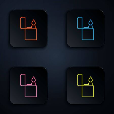 Color neon line Lighter icon isolated on black background. Set icons in square buttons. Vector Illustration Illustration