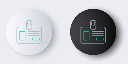 Line Identification badge icon isolated on grey background. It can be used for presentation, identity of the company, advertising. Colorful outline concept. Vector. 向量圖像