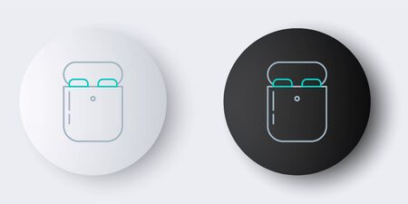 Line Air headphones in box icon isolated on grey background. Holder wireless in case earphones garniture electronic gadget. Colorful outline concept. Vector.