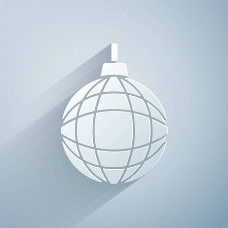 Paper cut Disco ball icon isolated on grey background. Paper art style. Vector. Vettoriali