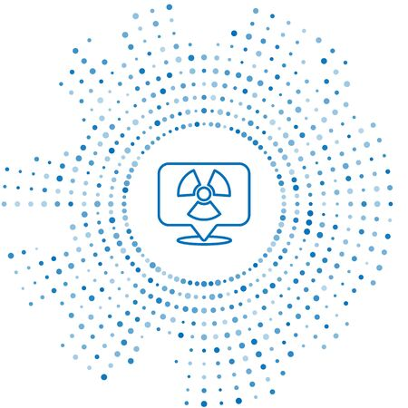 Blue line Radioactive in location icon isolated on white background. Radioactive toxic symbol. Radiation Hazard sign. Abstract circle random dots. Vector