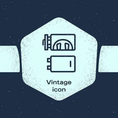 Grunge line Crematorium icon isolated on blue background. Monochrome vintage drawing. Vector.
