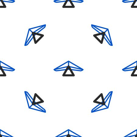 Line Hang glider icon isolated seamless pattern on white background. Extreme sport. Colorful outline concept. Vector Illustration