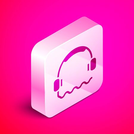 Isometric Headphones icon isolated on pink background. Support customer service, hotline, call center, faq, maintenance. Silver square button. Vector. Illustration Vettoriali
