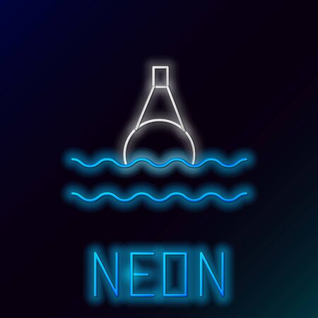 Glowing neon line Floating buoy on the sea icon isolated on black background. Colorful outline concept. Vector Иллюстрация