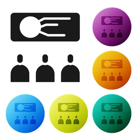 Black Training, presentation icon isolated on white background. Set icons in color circle buttons. Vector. Illustration