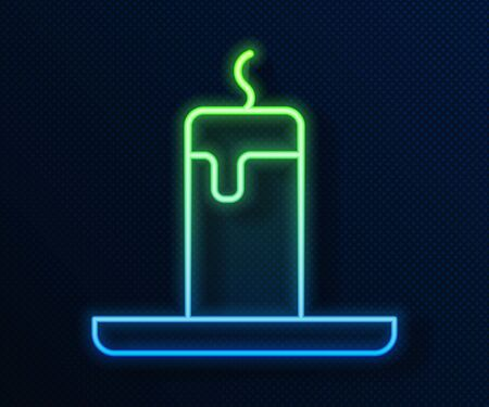 Glowing neon line Burning candle icon isolated on blue background. Cylindrical candle stick with burning flame. Vector.