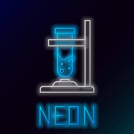 Glowing neon line Glass test tube flask on fire heater experiment icon isolated on black background. Laboratory equipment. Colorful outline concept. Vector. 版權商用圖片 - 148000359