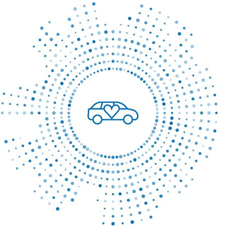 Blue line Luxury limousine car icon isolated on white background. For world premiere celebrities and guests poster. Abstract circle random dots. Vector.