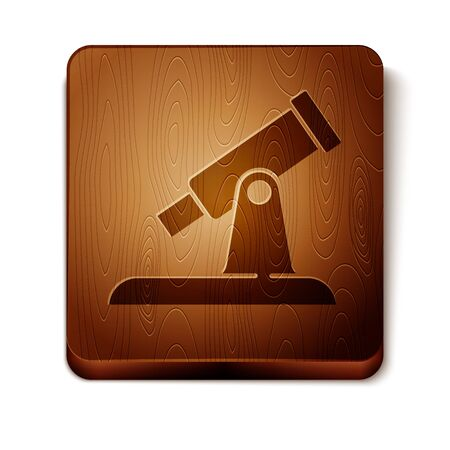 Brown Telescope icon isolated on white background. Scientific tool. Education and astronomy element, spyglass and study stars. Wooden square button. Vector.