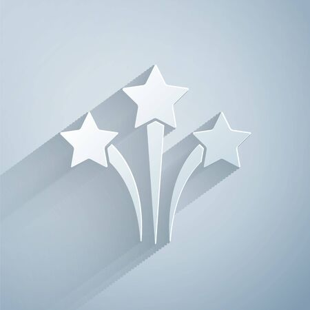 Paper cut Firework icon isolated on grey background. Concept of fun party. Explosive pyrotechnic symbol. Paper art style. Vector.