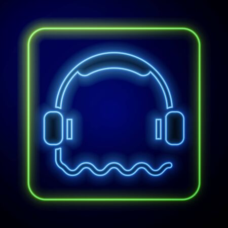 Glowing neon Headphones icon isolated on blue background. Support customer service, hotline, call center, faq, maintenance. Vector. Illustration Vettoriali