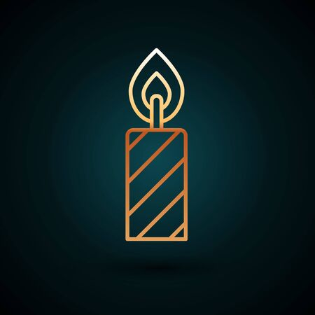 Gold line Birthday cake candles icon isolated on dark blue background. Vector.