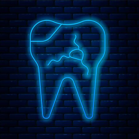 Glowing neon line Broken tooth icon isolated on brick wall background. Dental problem icon. Dental care symbol. Vector. Illustration