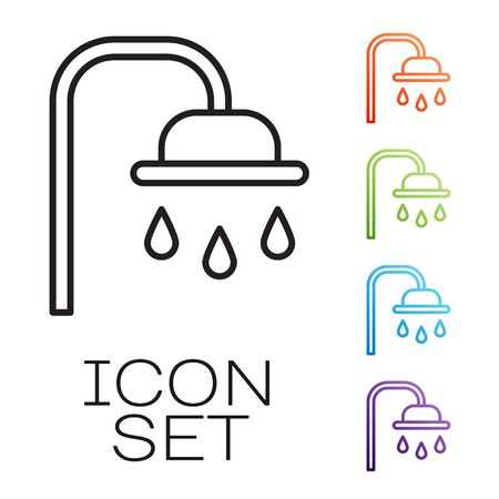 Black line Shower head with water drops flowing icon isolated on white background. Set icons colorful. Vector. Illustration Ilustrace
