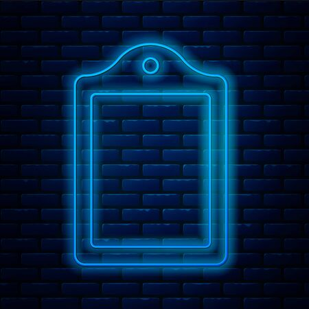 Glowing neon line Cutting board icon isolated on brick wall background. Chopping Board symbol. Vector.