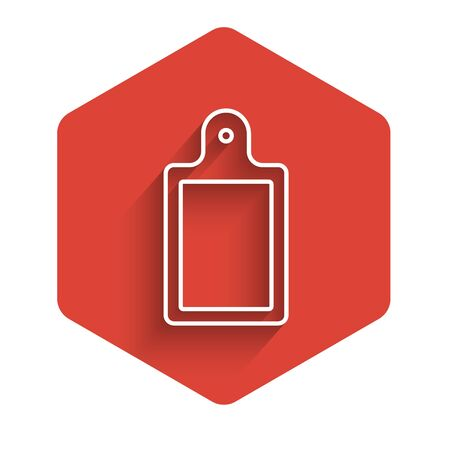White line Cutting board icon isolated with long shadow. Chopping Board symbol. Red hexagon button. Vector.