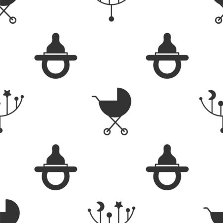 Set Baby crib hanging toys, Baby stroller and Baby dummy pacifier on seamless pattern. Vector. Vettoriali