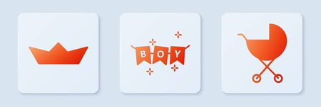 Set Carnival garland with flags, Folded paper boat and Baby stroller. White square button. Vector.