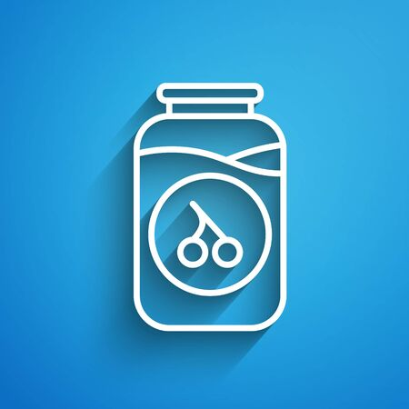White line Cherry jam jar icon isolated on blue background. Long shadow. Vector. Иллюстрация