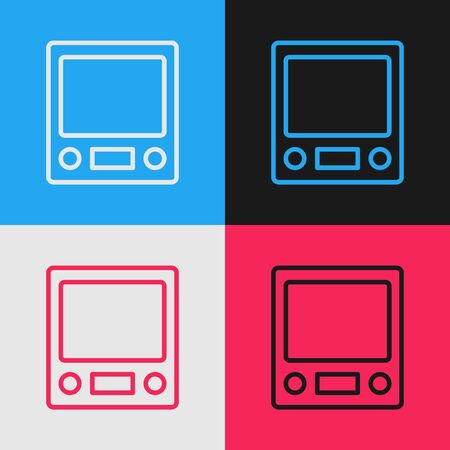 Pop art line Electronic scales icon isolated on color background. Weight measure equipment. Vector.